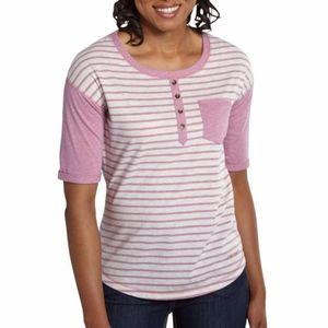 Carhartt Reagan Henley Pink Striped T-Shirt Shirt